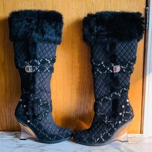 BABY PHAT BLACK KNEE HIGH QUILTED RABBIT BOOTS